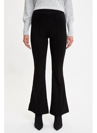 DeFacto Beli Lastikli İspanyol Paça Pantolon Siyah
